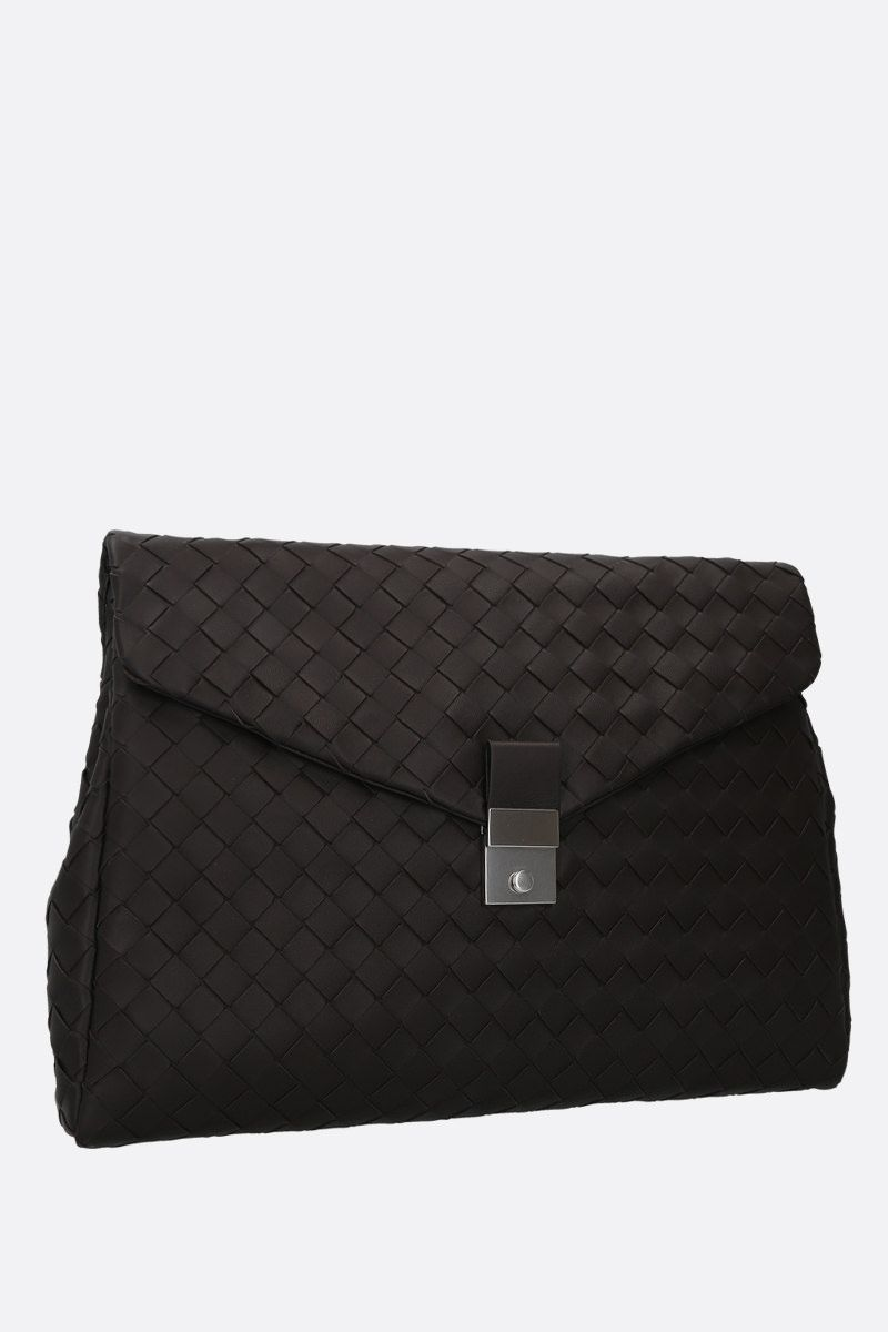 BOTTEGA VENETA: Intrecciato nappa medium document holder Color Brown_2