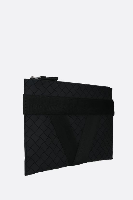 BOTTEGA VENETA: Intrecciato-motif rubber and fabric document holder Color Black_2
