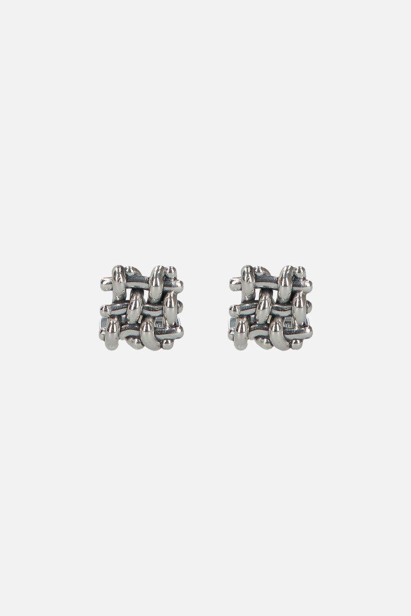 BOTTEGA VENETA: Intrecciato silver cufflinks Color Silver_1