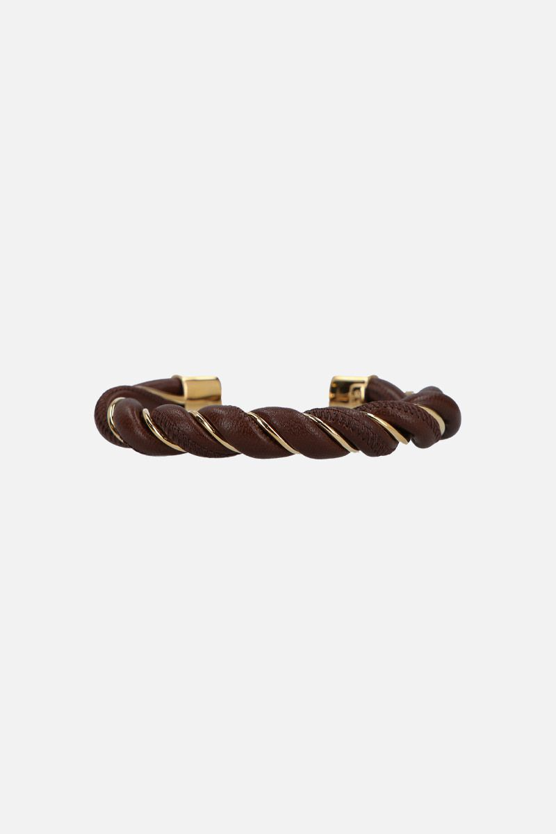 BOTTEGA VENETA: silver and nappa cuff bracelet Color Brown_1