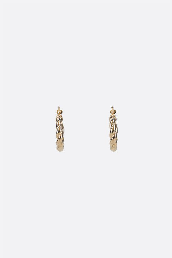 BOTTEGA VENETA: 18-karat gold-plated sterling silver hoop earrings Color Gold_1