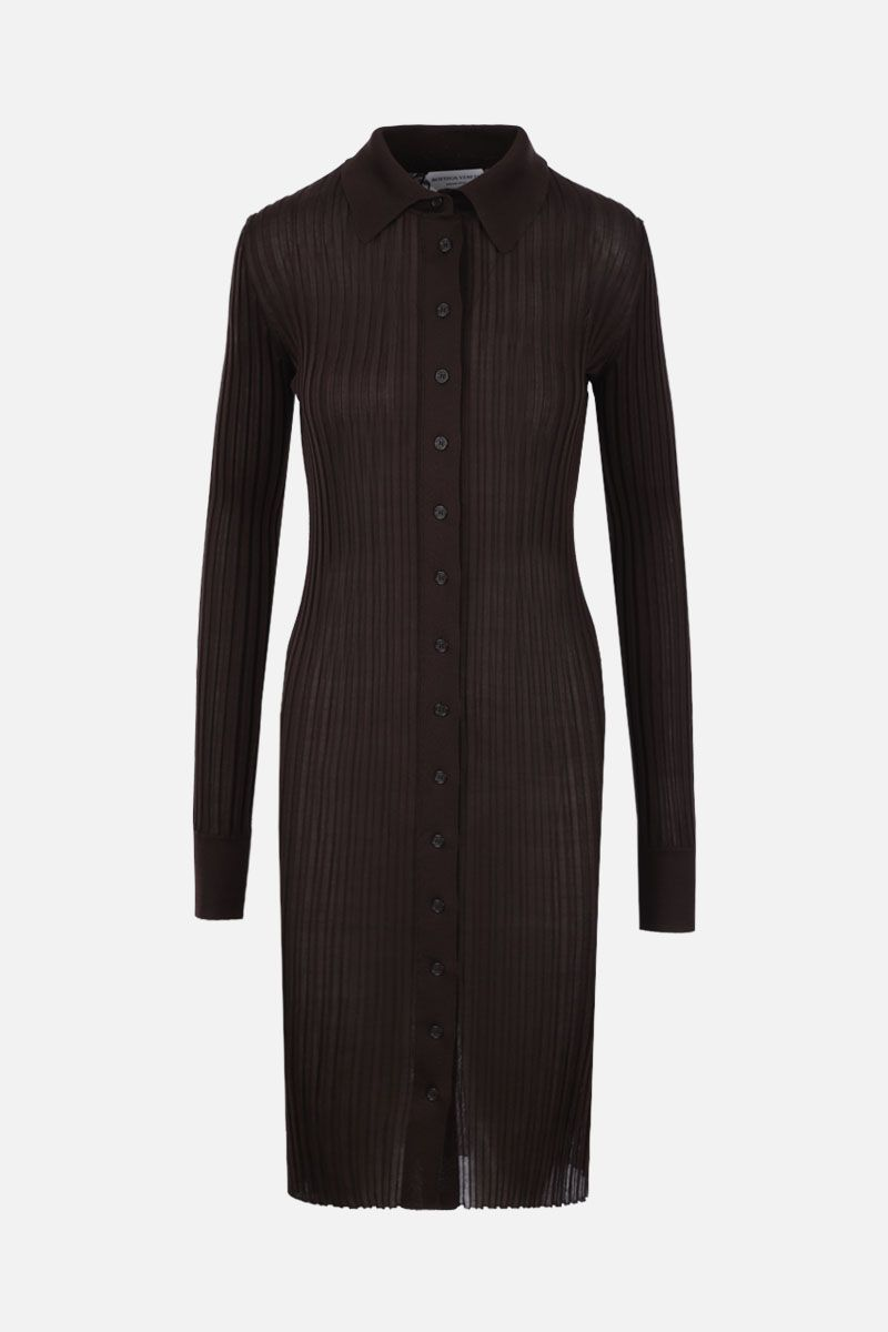 BOTTEGA VENETA: rib silk knit sweater dress Color Brown_1
