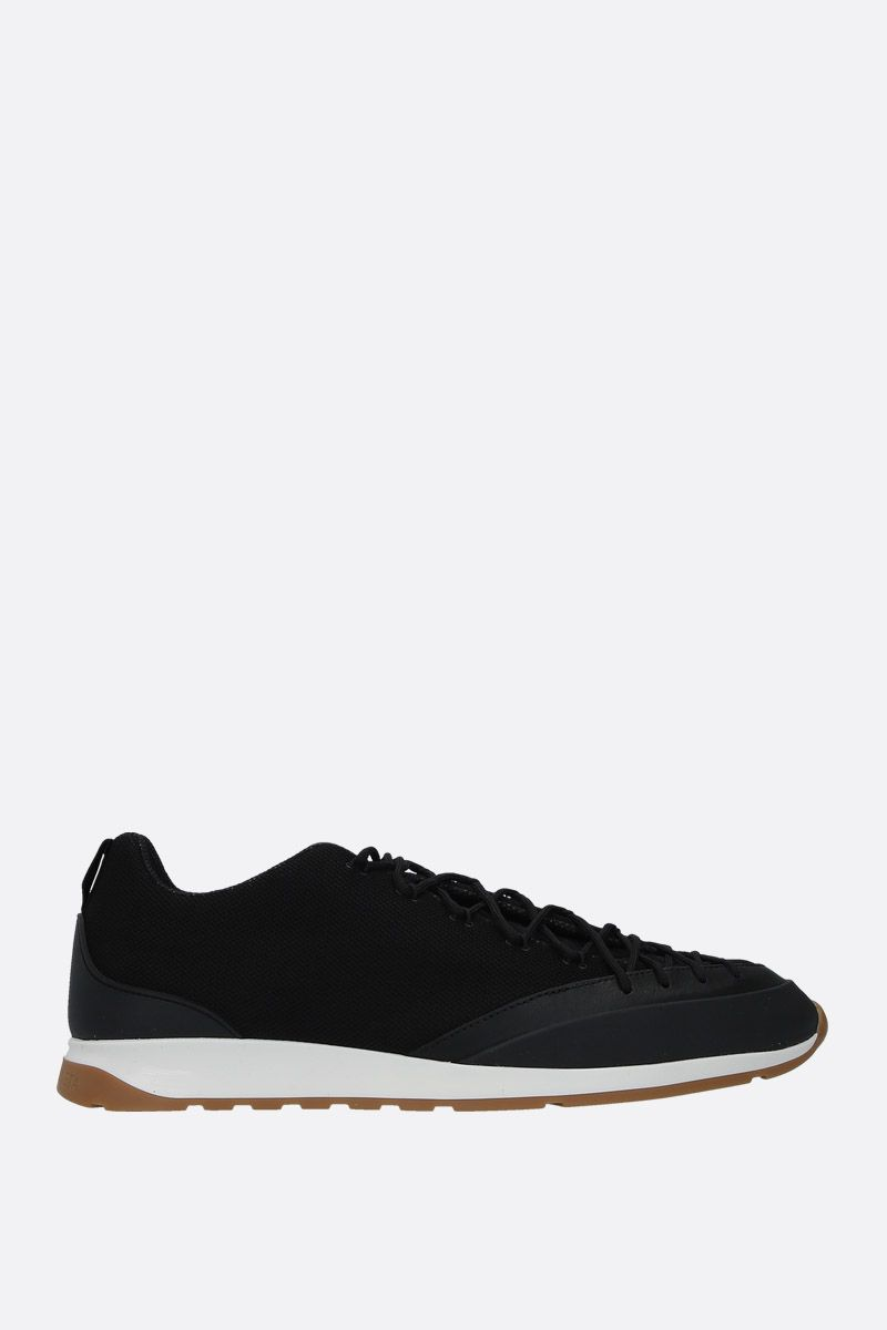 BOTTEGA VENETA: mesh and smooth leather sneakers Color Black_1
