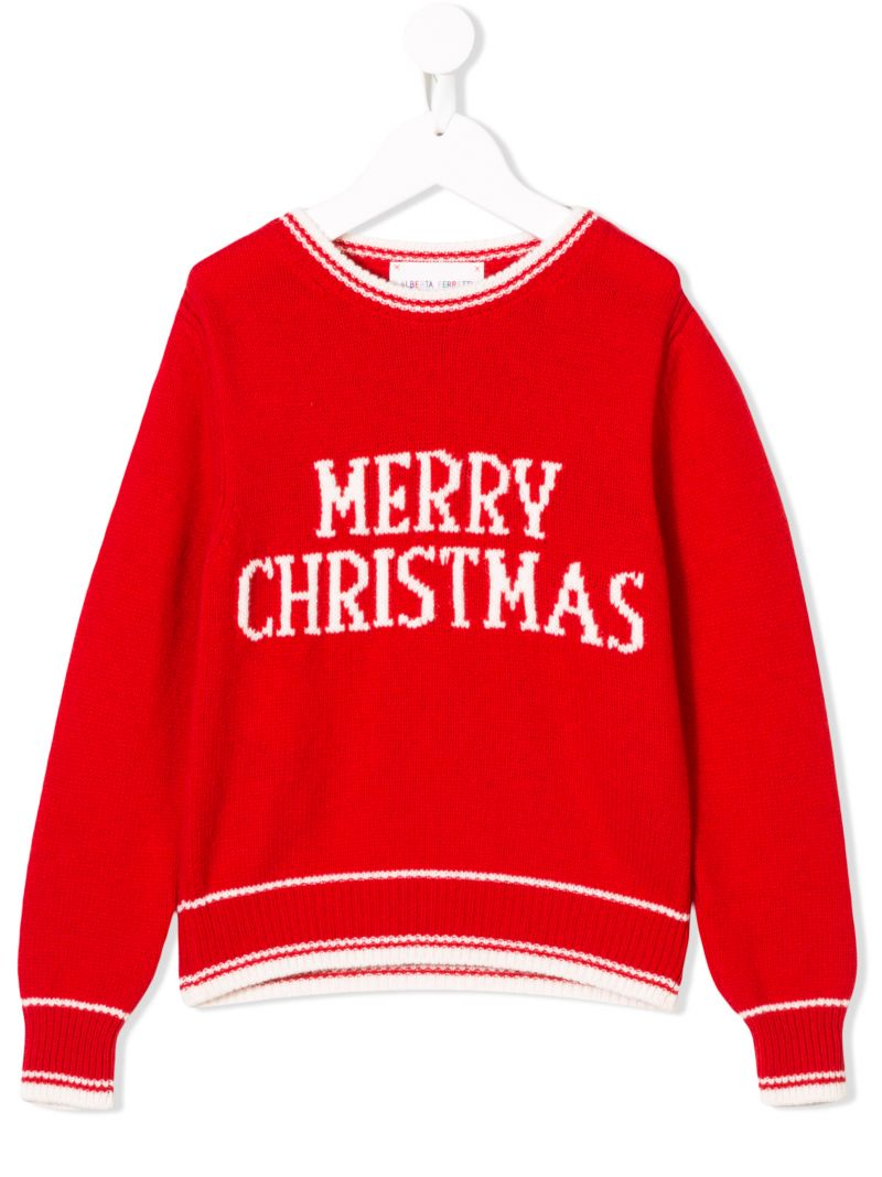 ALBERTA FERRETTI JUNIOR: Merry Christmas pullover in wool cashmere blend Color Red_1