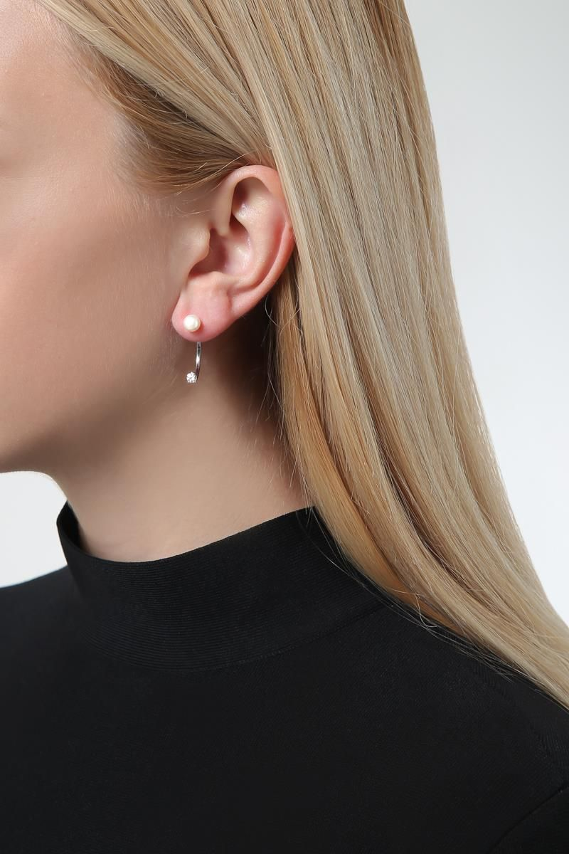 DELFINA DELETTREZ: Diamond Dot gold earring Color Silver_2