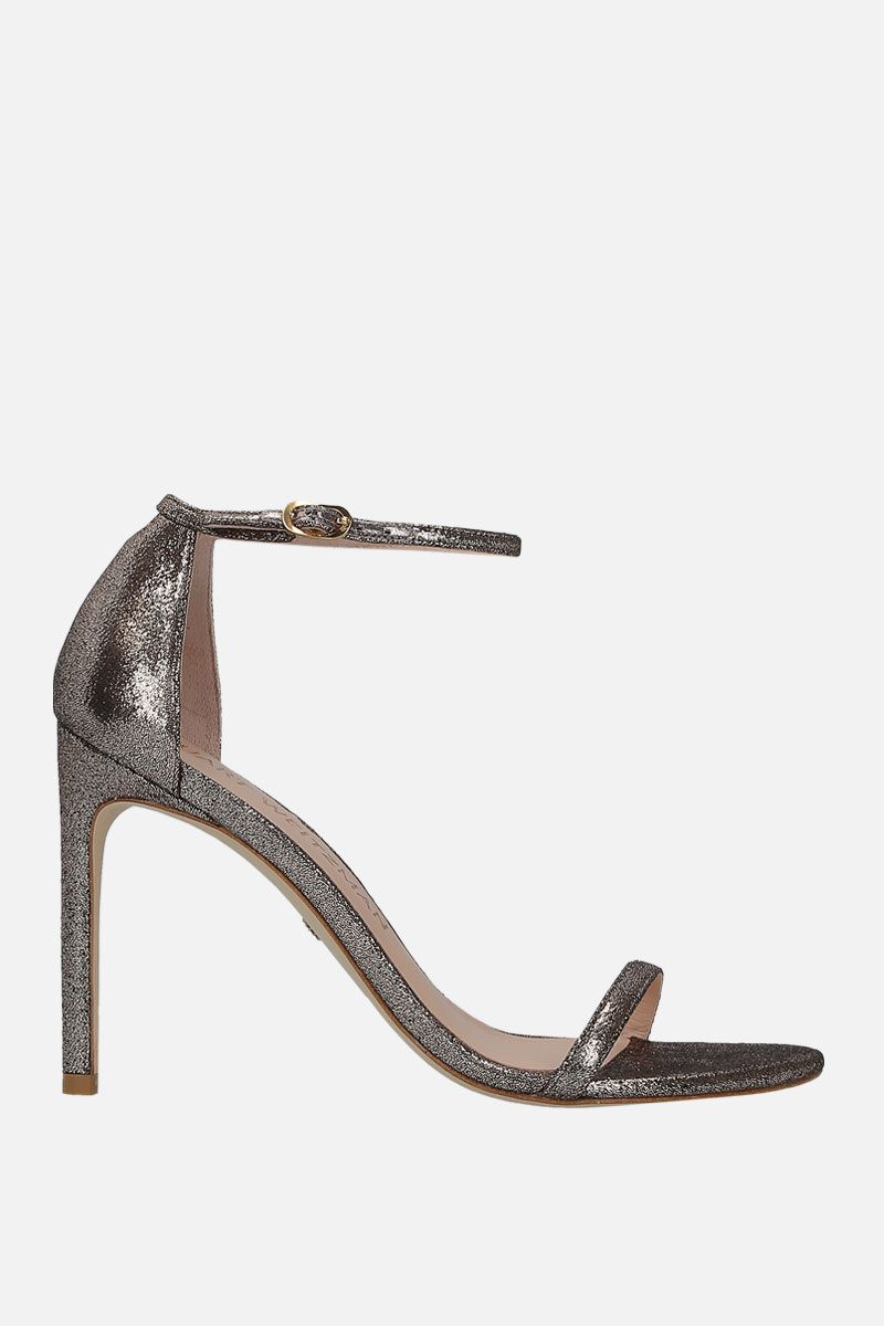STUART WEITZMAN: Nudistong sandals in crakled velvet Color Silver_1