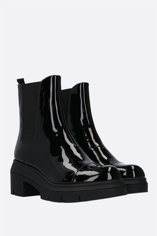 STUART WEITZMAN: Norah patent leather chelsea boots Color Black_2