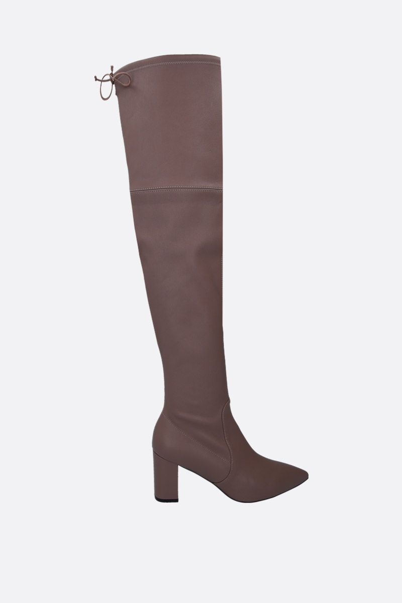 STUART WEITZMAN: Lesley over-the-knee boots in soft nappa Color Grey_1