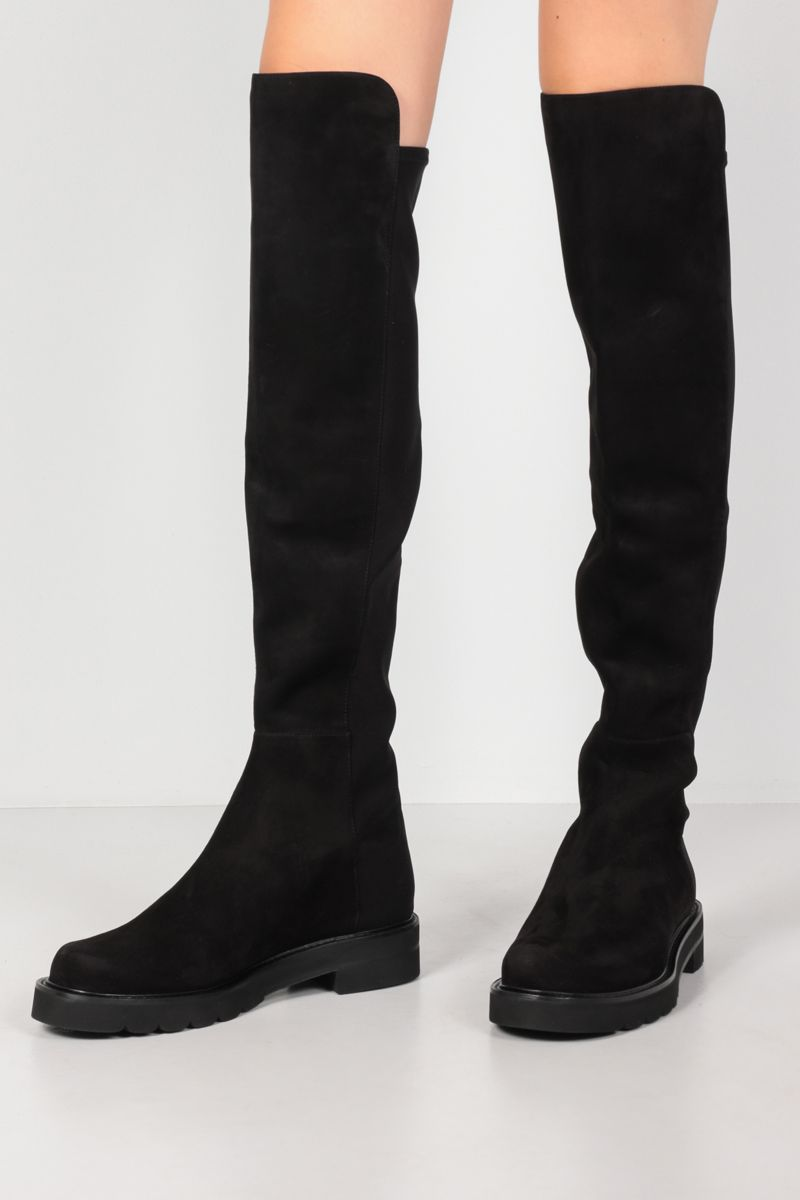 STUART WEITZMAN: 5050 Lift suede and stretch gabardine over-the-knee boots Color Black_2