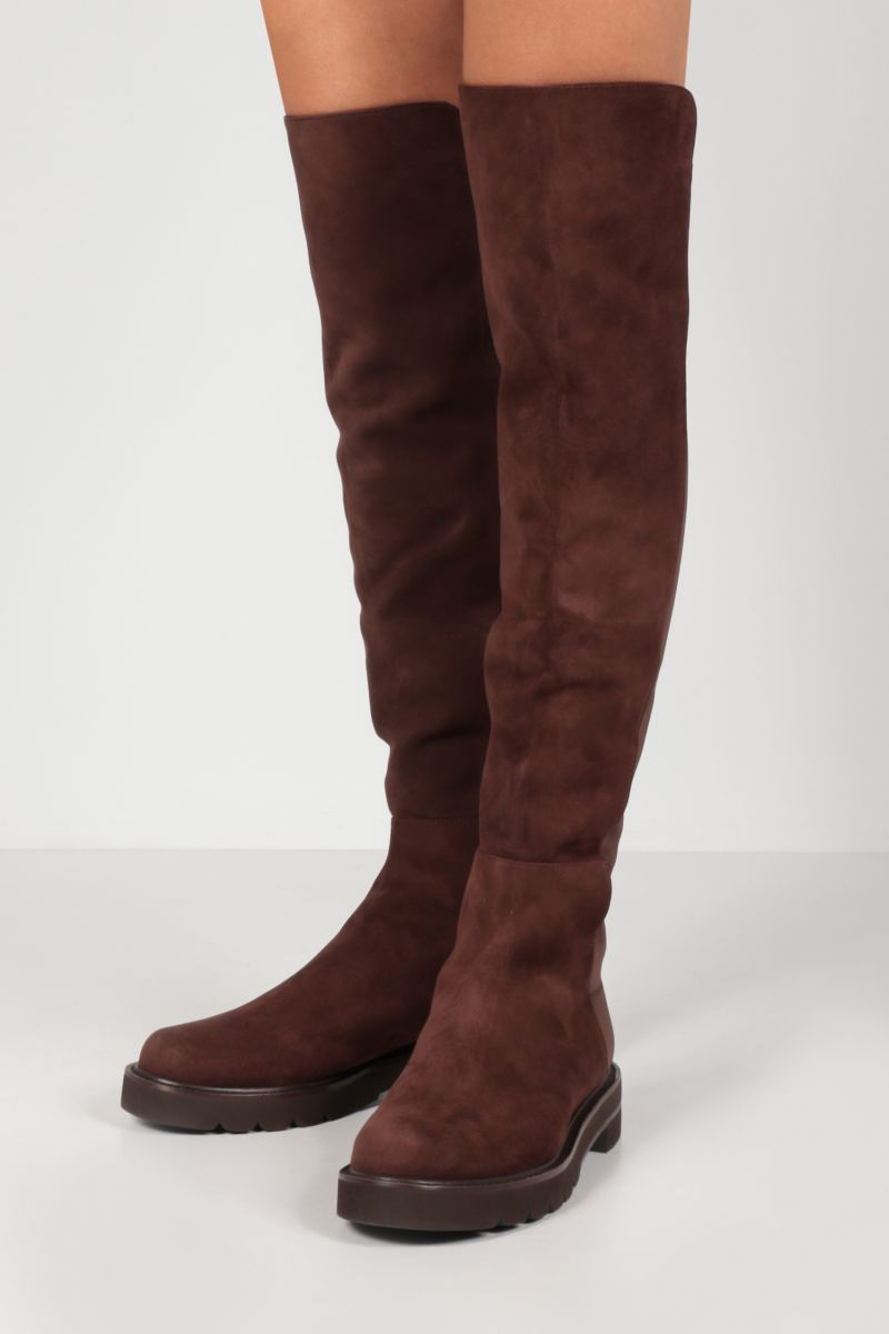 STUART WEITZMAN: 5050 Lift suede and stretch gabardine over-the-knee boots Color Brown_2