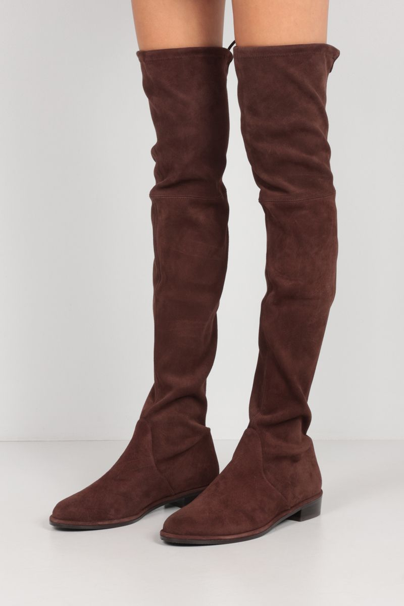 STUART WEITZMAN: Lowland stretch suede over-the-knee boots Color Brown_2