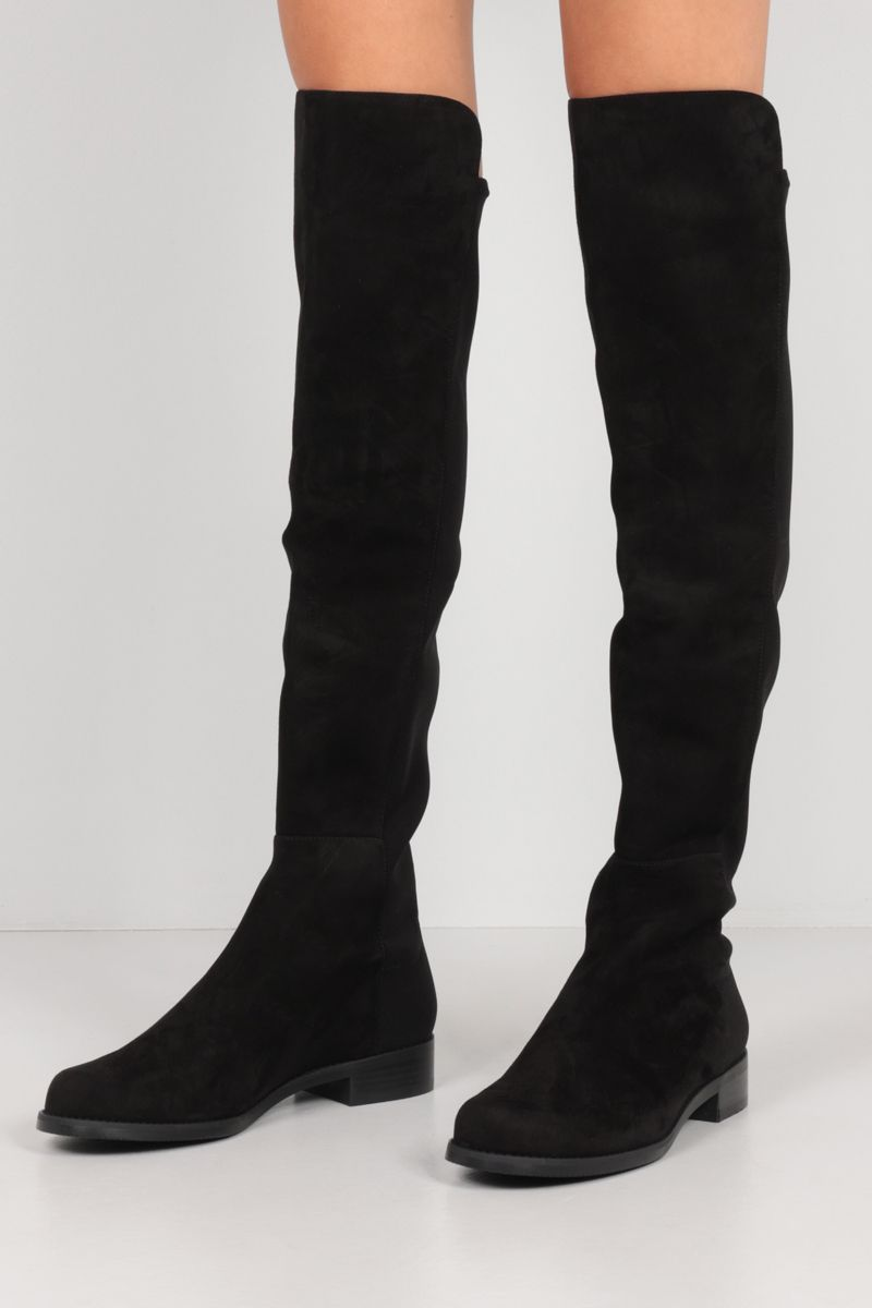 STUART WEITZMAN: 5050 suede and stretch gabardine over-the-knee boots Color Black_2