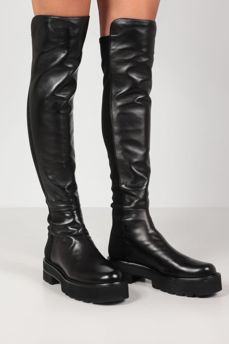 STUART WEITZMAN: 5050 Ultralift nappa and stretch gabardine over-the-knee boots Color Black_2