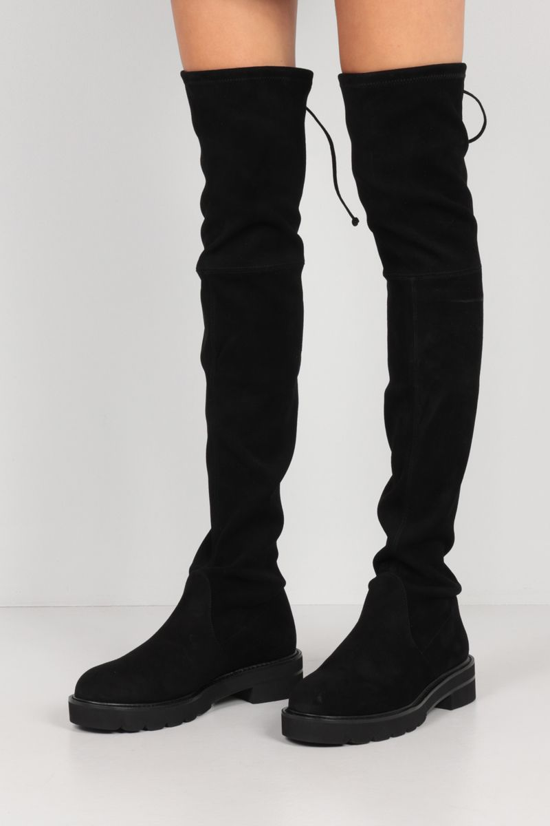 STUART WEITZMAN: Lowland Lift stretch suede over-the-knee boots Color Black_2