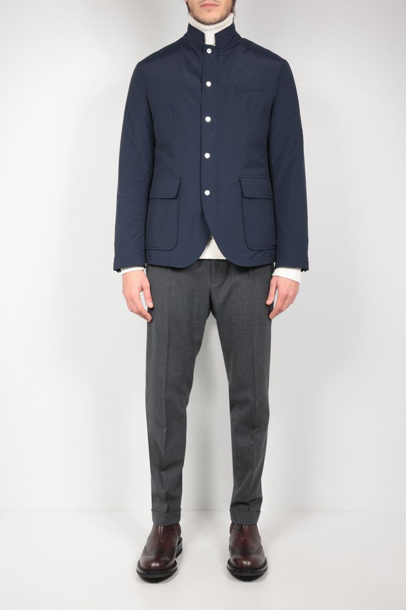 ELEVENTY: tech wool padded overshirt Color Blue_2