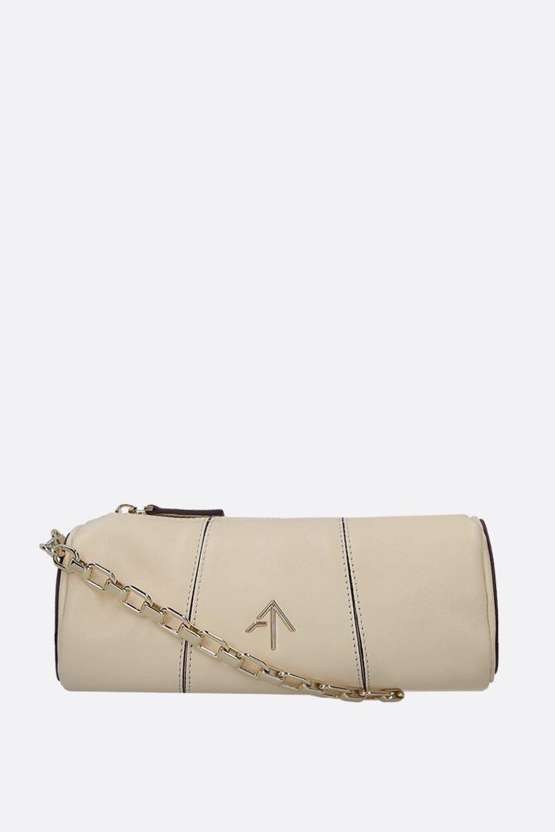 MANU ATELIER: Mini Cylinder crossbody bag in shiny leather Color White_1