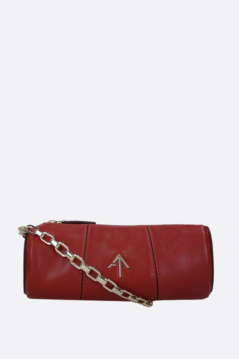 MANU ATELIER: Mini Cylinder crossbody bag in shiny leather Color Brown_1