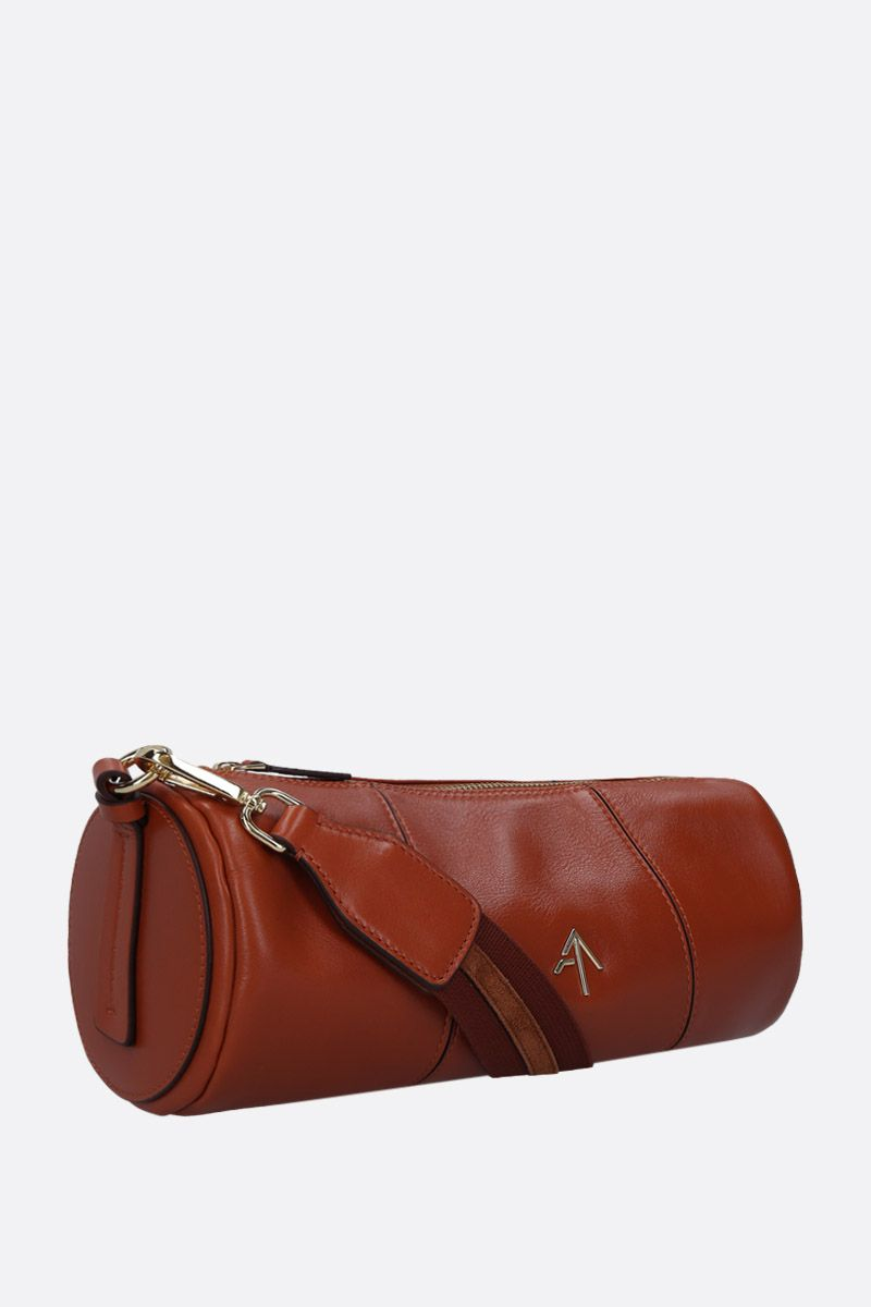 MANU ATELIER: Cylinder crossbody bag in shiny leather Color Brown_2