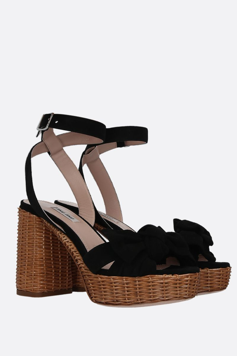 MIU MIU: suede platform sandals Color Black_2
