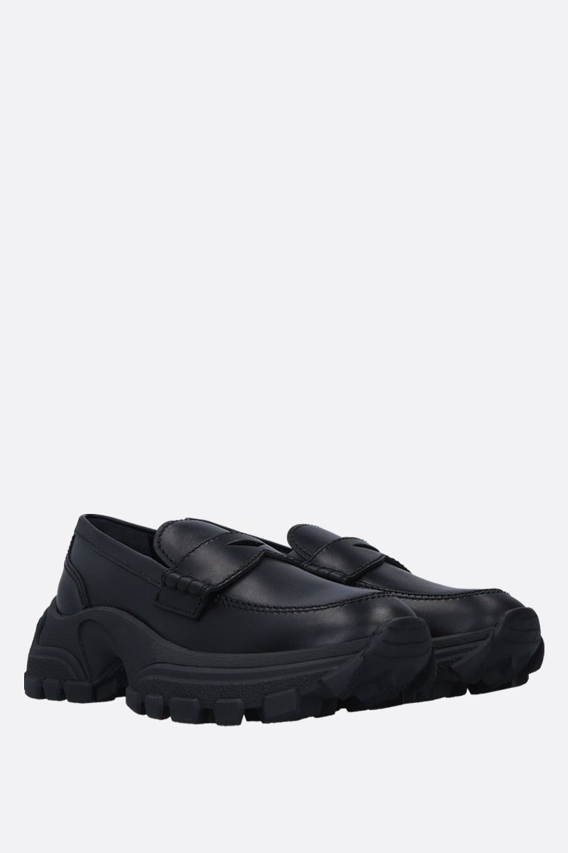 MIU MIU: matte leather flatform loafers Color Black_2