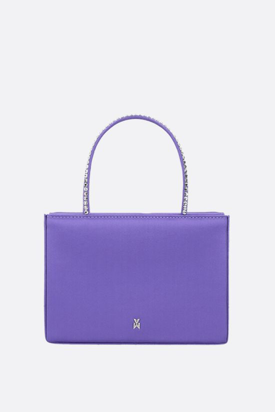 AMINA MUADDI: Amini Gilda Crystal shiny satin handbag Color Purple_1