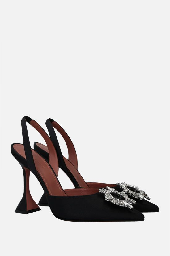 AMINA MUADDI: Begum satin slingbacks Color Black_2