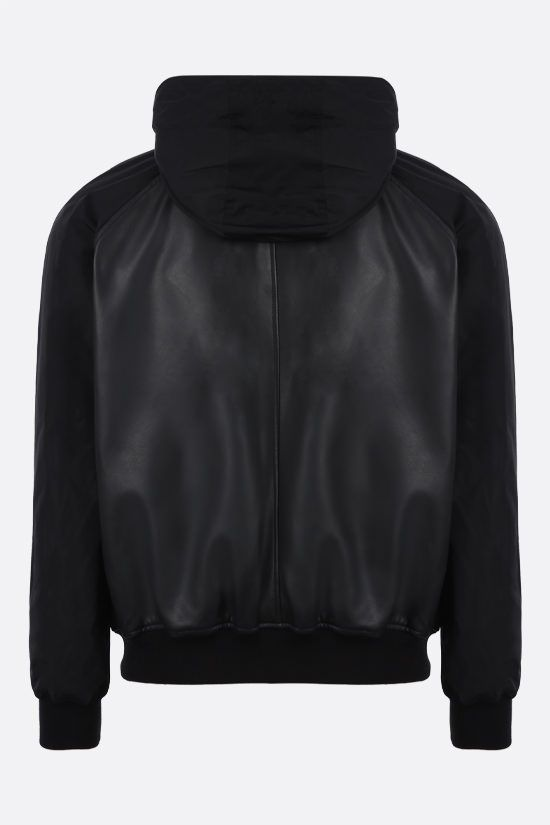 DSQUARED2: nappa and nylon bomber jacket Color Black_2