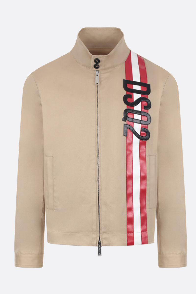 DSQUARED2: cotton twill bomber jacket with logoed band Color Neutral_1