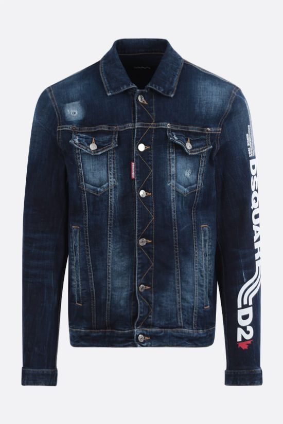 DSQUARED2: giubbotto Dan in denim stretch Colore Blu_1