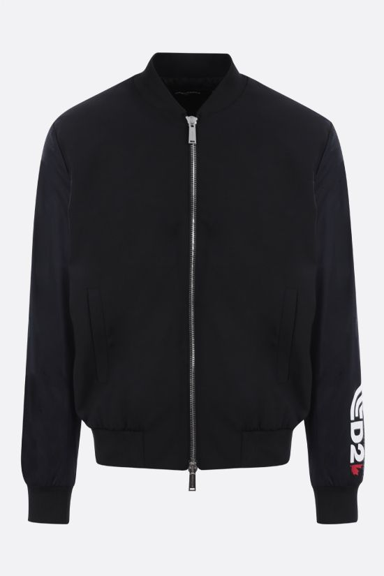 DSQUARED2: logo print stretch wool and mesh bomber jacket Color Black_1