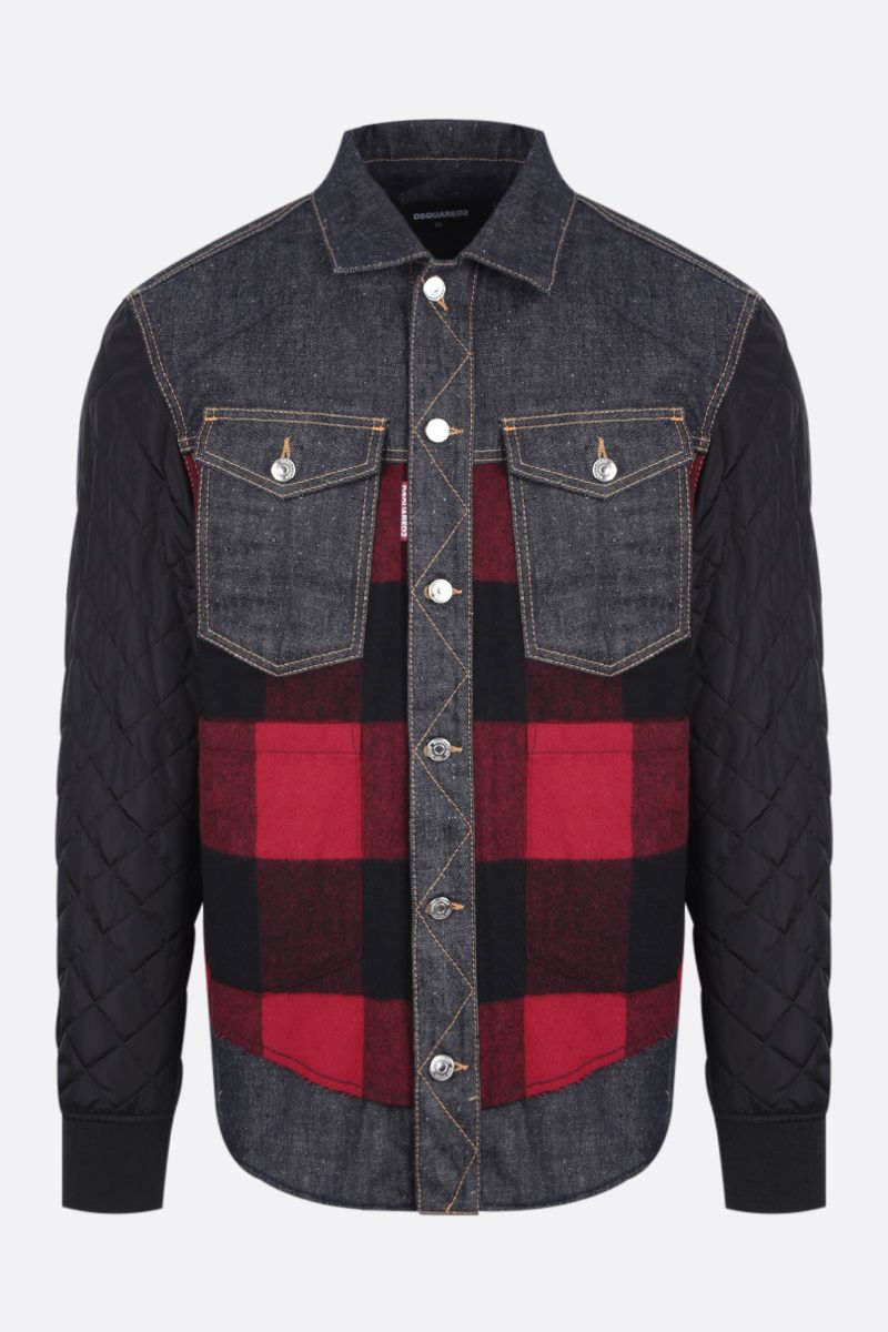 DSQUARED2: nylon, flannel and denim overshirt Color Blue_1