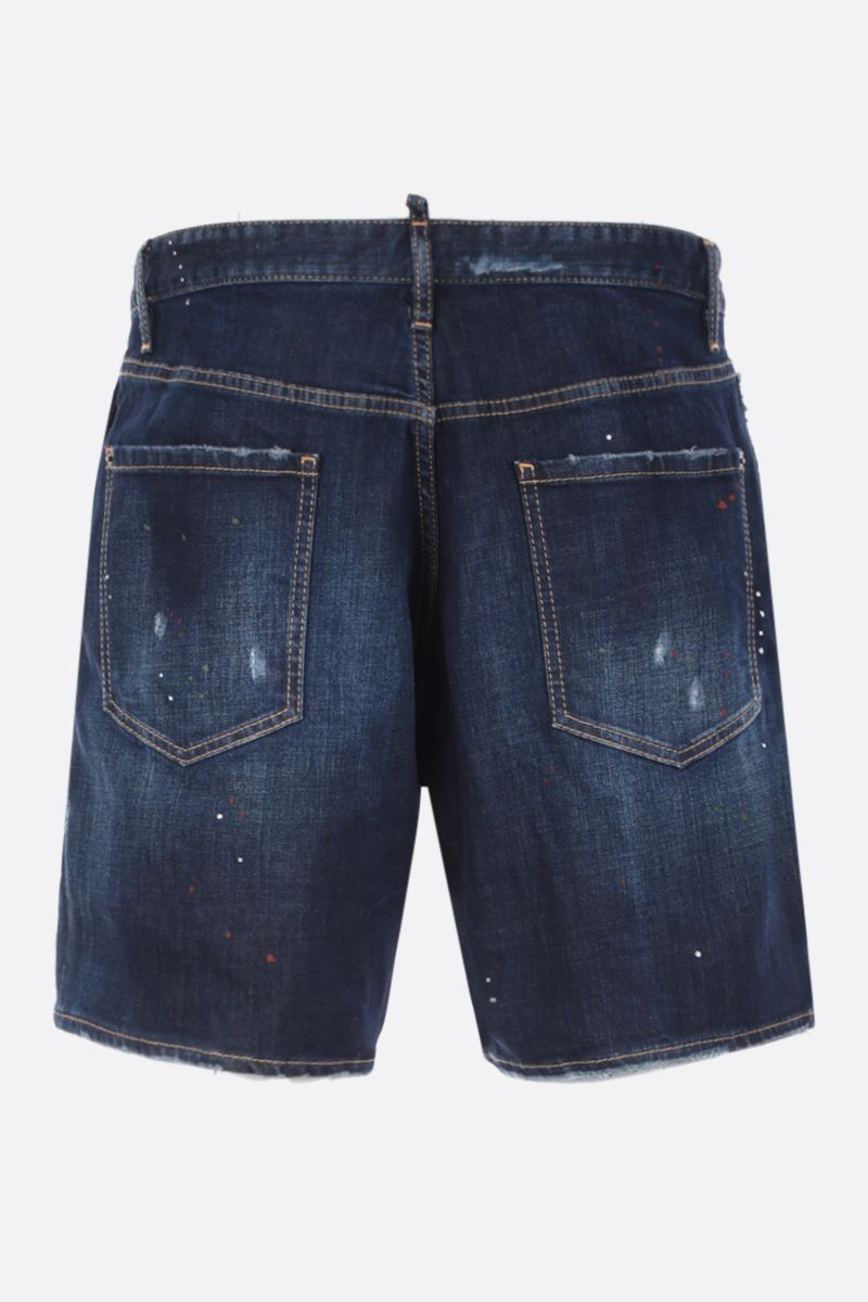 DSQUARED2: stretch denim shorts with logoed band Color Blue_2