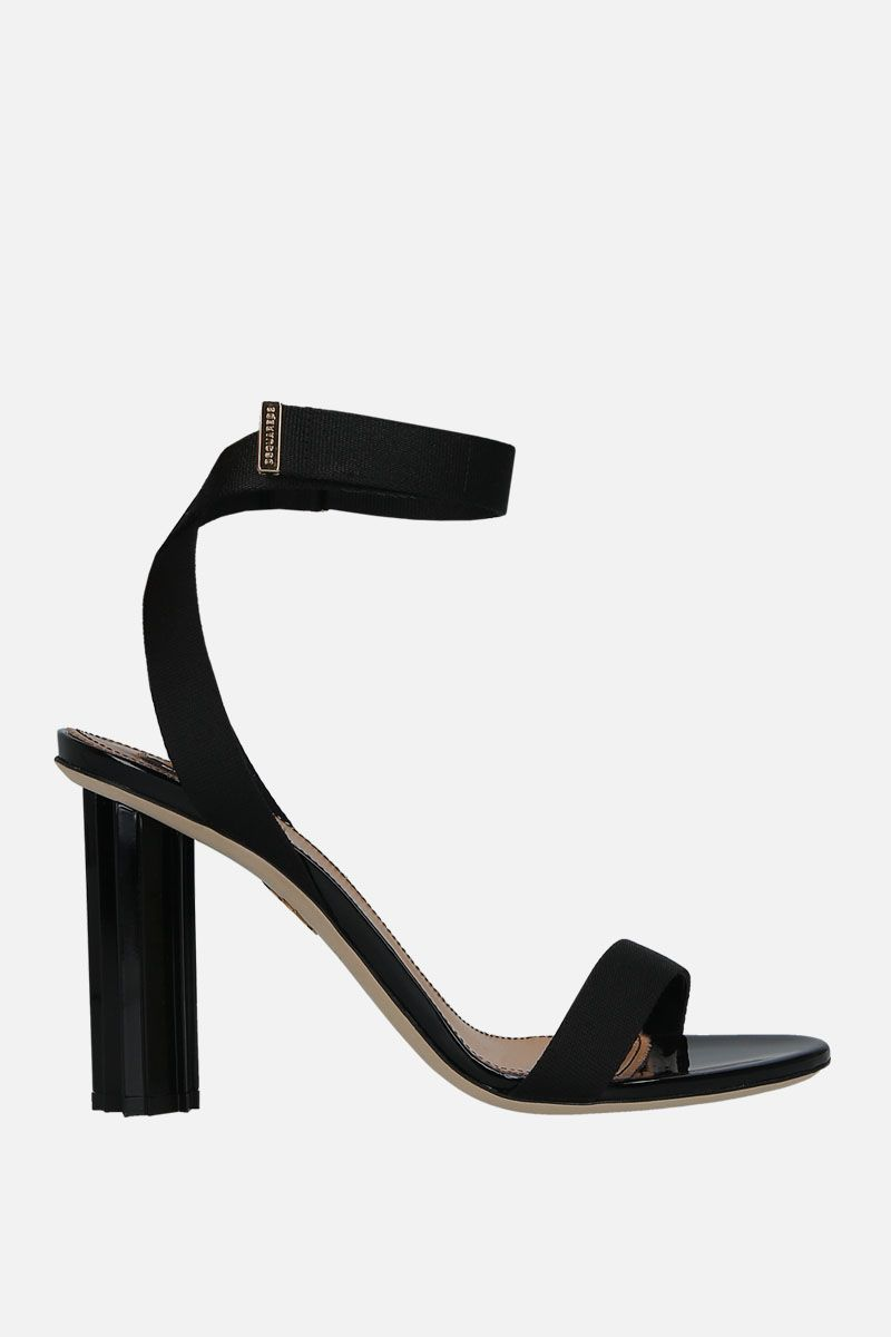 DSQUARED2: sculpture heel-detailed tape sandals Color Black_1