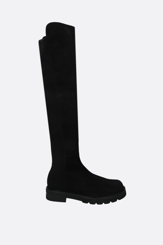 STUART WEITZMAN: 5050 Lift suede and stretch fabric over-the-knee boots Color Black_1