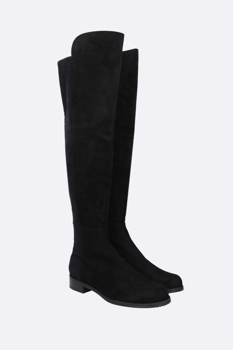 STUART WEITZMAN: 5050 suede and stretch fabric over-the-knee boots Color Black_2