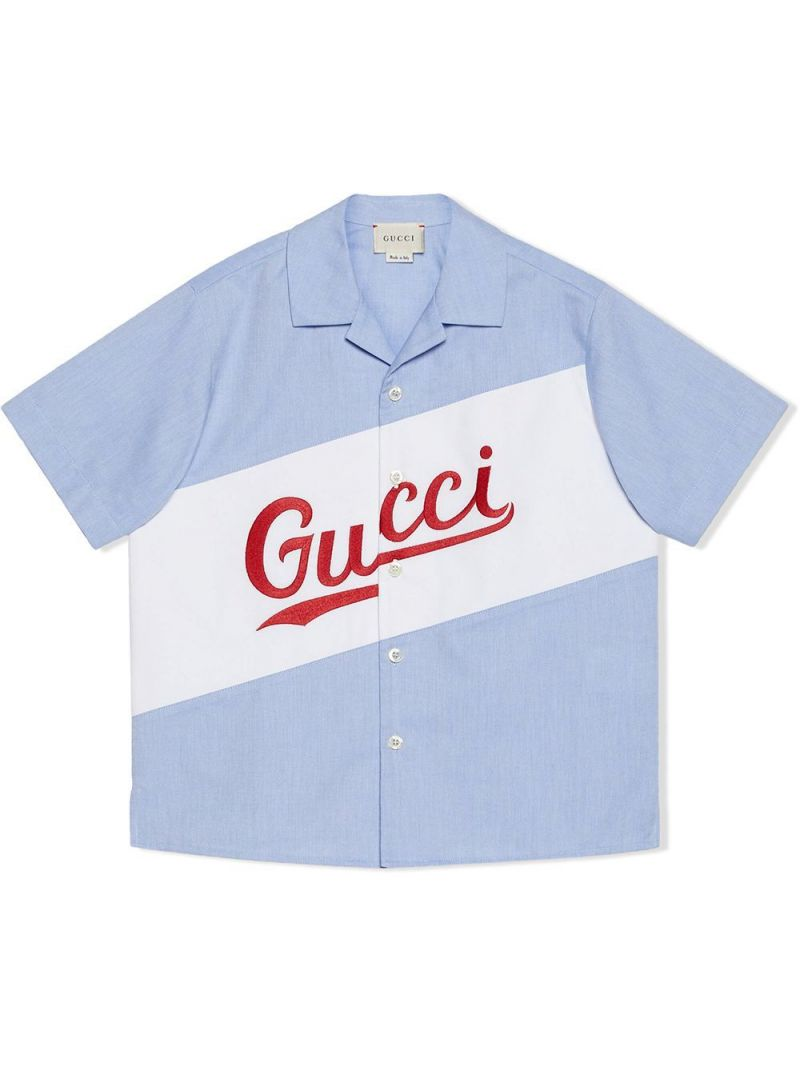 GUCCI CHILDREN: Oxford cotton bowling shirt Color Blue_1
