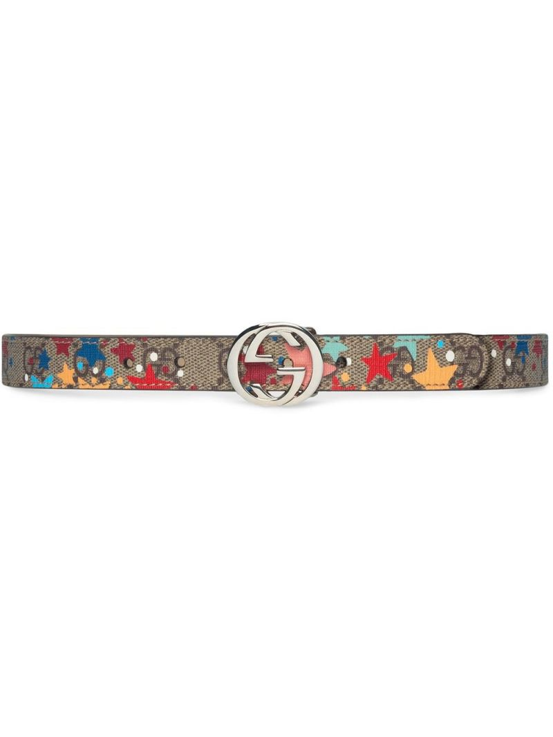 GUCCI CHILDREN: stars print GG Supreme canvas belt Color Neutral_1