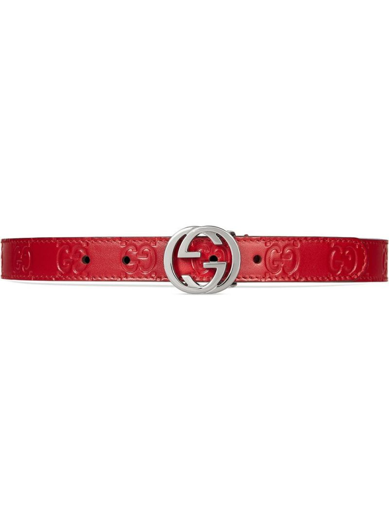 GUCCI CHILDREN: Gucci Signature smooth leather belt Color Red_1