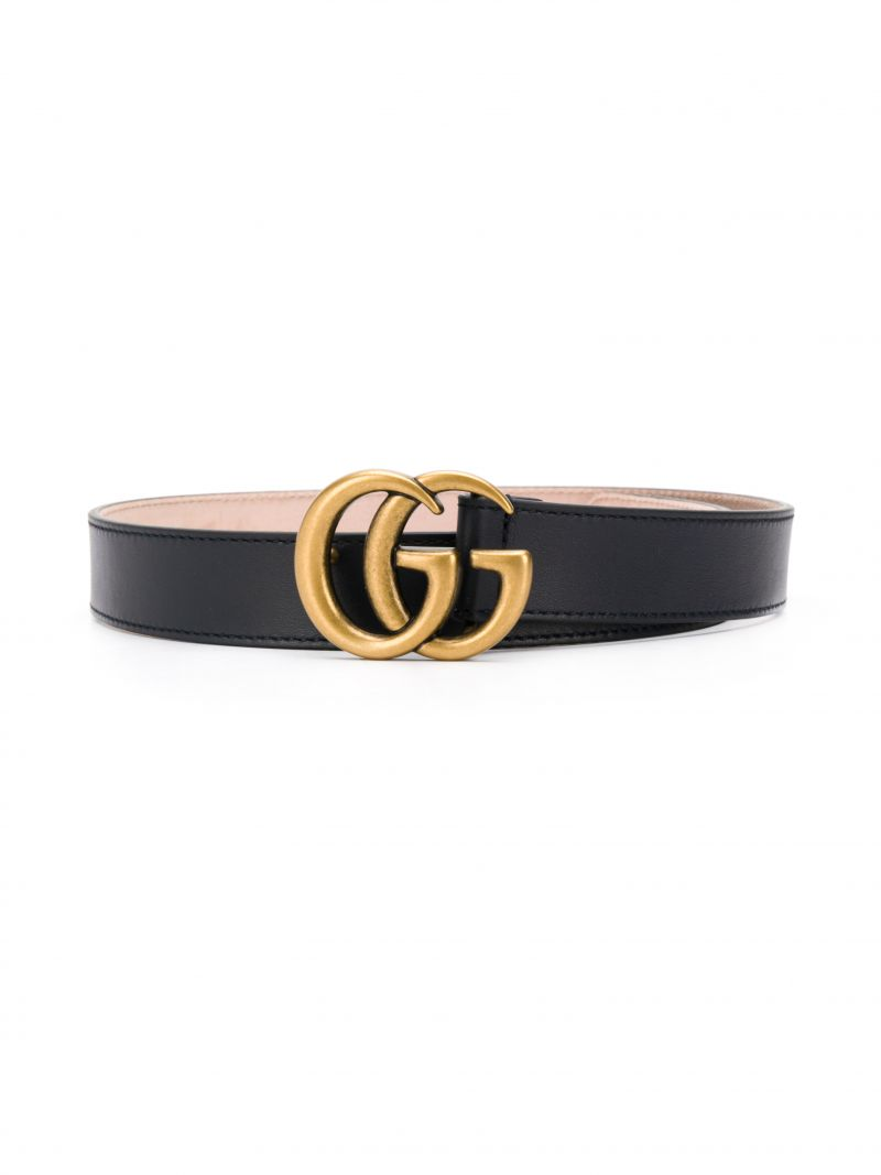 GUCCI CHILDREN: smooth leather belt with Double G buckle Color Blue_1