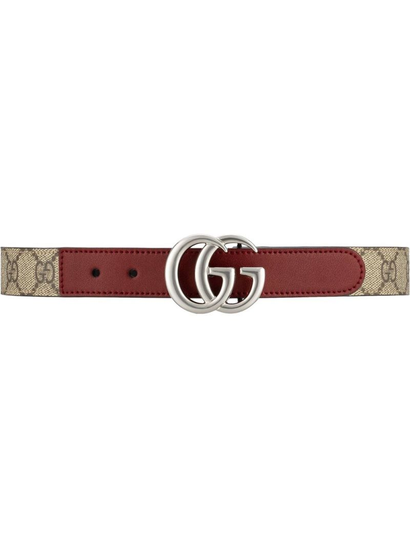GUCCI CHILDREN: Double G belt in smooth leather and GG Supreme canvas Color Neutral_1