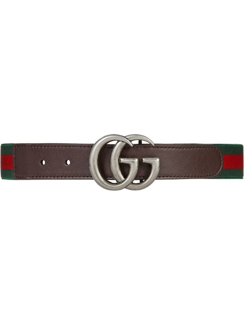 GUCCI CHILDREN: Web elasticated ribobn belt Color Brown_1