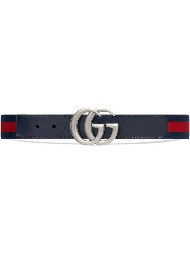 GUCCI CHILDREN: smooth leather and elastic Web belt Color Blue_1