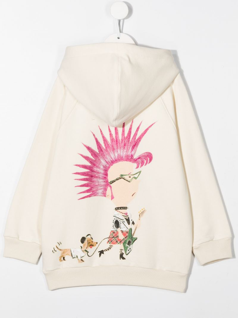 GUCCI CHILDREN: Gucci Top embroidered cotton hoodie Color White_2