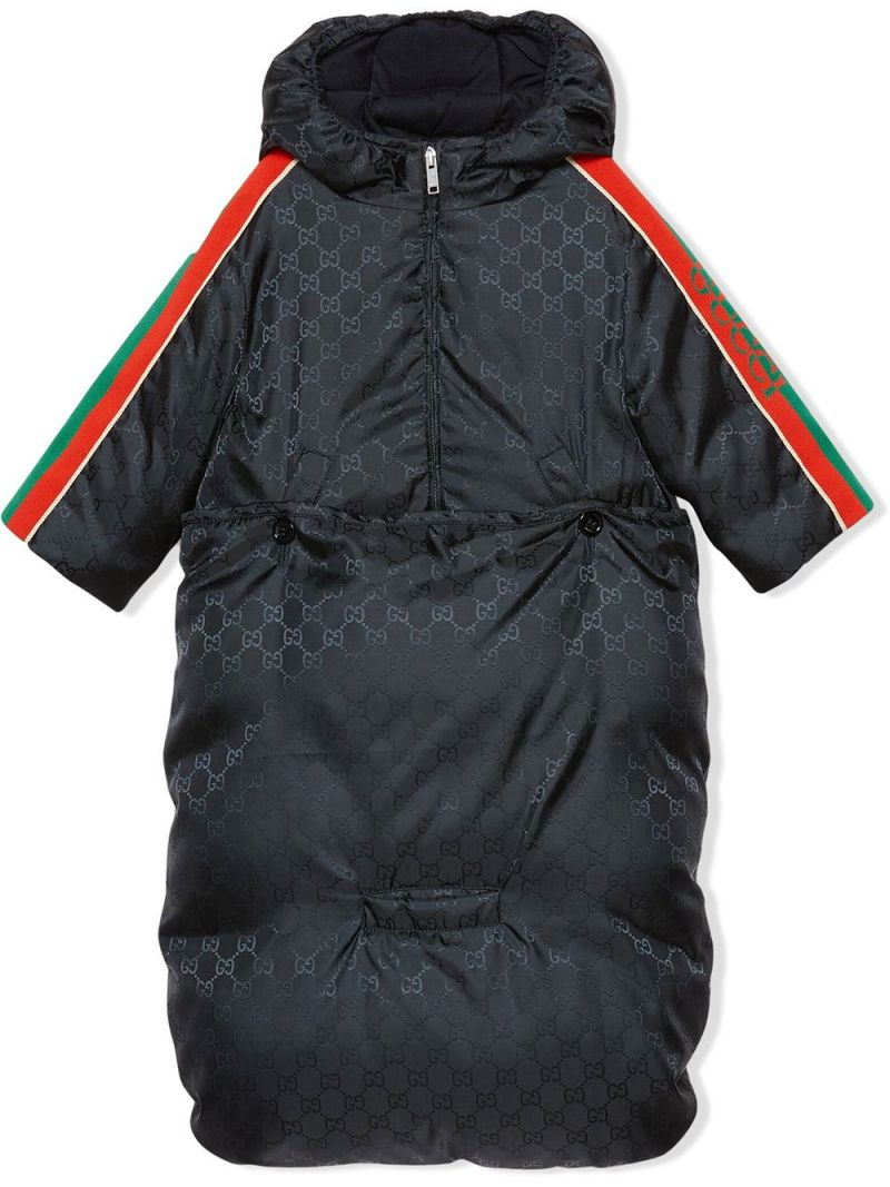 GUCCI CHILDREN: GG nylon down jacket with bunting Color Blue_1