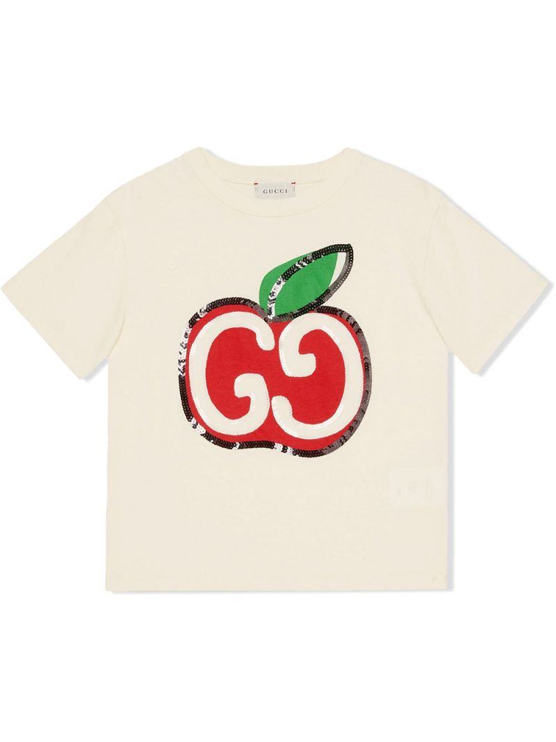GUCCI CHILDREN: GG apple print cotton t-shirt Color Brown_1