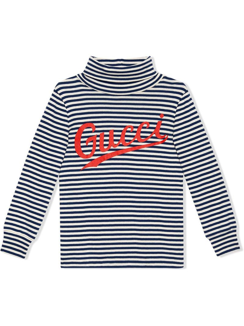 GUCCI CHILDREN: striped stretch cotton long-sleeved t-shirt Color Multicolor_1