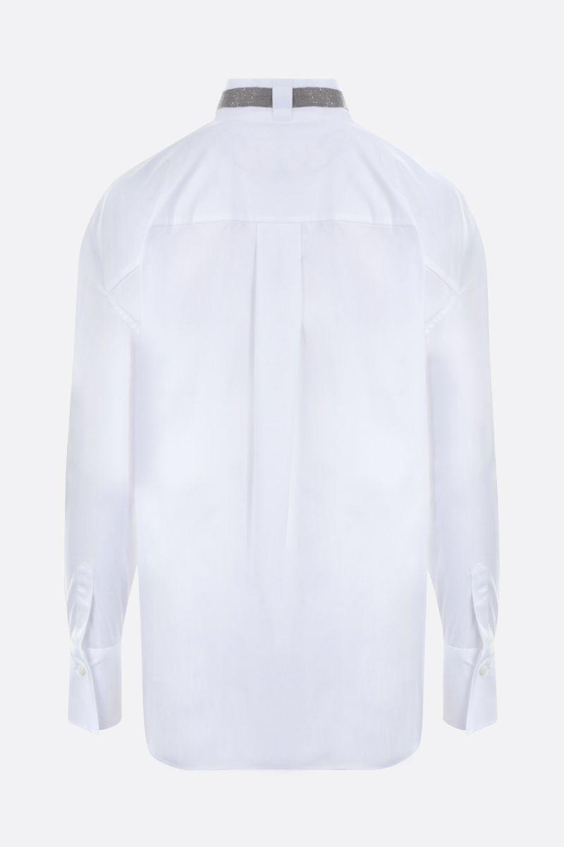 BRUNELLO CUCINELLI: monili-detailed stretch poplin shirt Color White_2