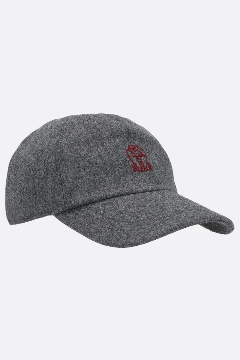 BRUNELLO CUCINELLI: logo embroidered wool baseball cap Color Grey_2