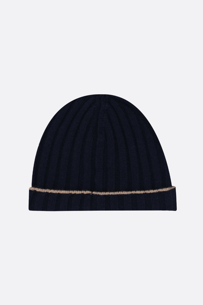 BRUNELLO CUCINELLI: rib knit cashmere beanie Color Blue_2