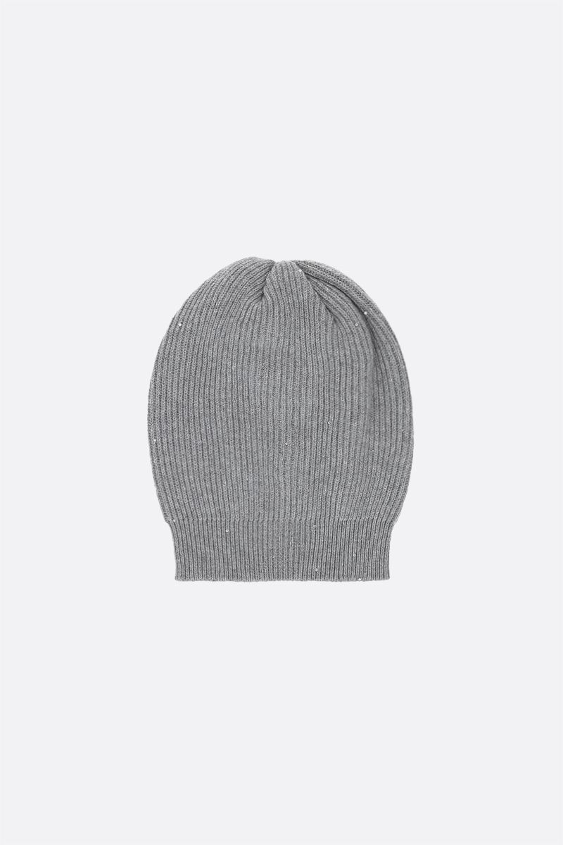 BRUNELLO CUCINELLI: sequinned cashmere, wool and lurex beanie Color Silver_2